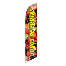 JUGOS DE FRUTAS Spanish Swooper Feather Banner Flag - Advertising FLAG ONLY -