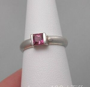 Tiffany & Co. Pink Tourmaline Princess Cut Stackable Sterling Silver Ring Sz 5