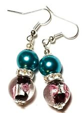 Large Silver Turquoise Teal Black & Pink Earrings Glass Bead Drop Dangle