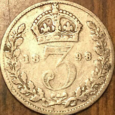 1898 UK GREAT BRITAIN SILVER THREEPENCE