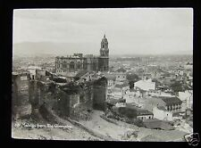 Glass Magic Lantern Slide THE CATHEDRAL AND CITY  C1910 MALAGA SPAIN
