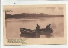 antica cartolina di persone in barca e poesia di panzacchi 1914