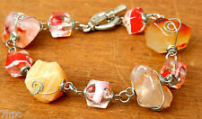 Silver Toggle Carnelian Crystal & Murano Glass Dice Bead Bracelet Reiki Blessed