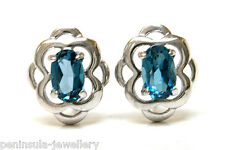 Sterling Silver London Blue Topaz Celtic Studs earrings Made in UK Gift Boxed