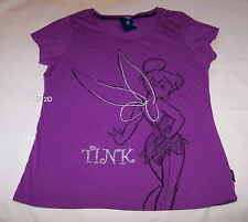 Disney Tinkerbell Ladies Purple Printed T Shirt Size XS New