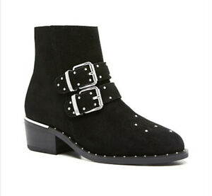 WITCHERY - Coco Black Suede Ankle Boot Silver Stud Embellishment Size 37 AUS 7