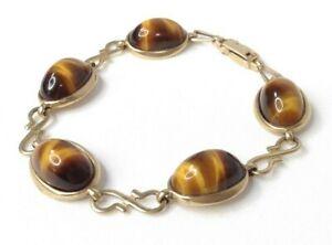 Womens 9ct / 9 Carat / 9K / 9 Karat Gold 375 & Tigers Eye Bracelet - 19.68g