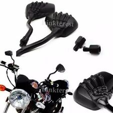Universal Motorcycle Side Rear View Mirrors Pair Black SKELETON Skull HAND Claw