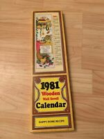 Vintage 1981 Wooden Wall Scroll Calendar Happy Home Recipe with Box Collectible