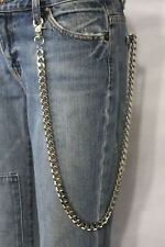 New Men Silver Wallet Chains Metal Biker Heavy Strong Long Strand Chunky Links