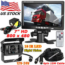 "12-24V 4Pin 7"" HD LCD Monitor Bus Truck Rear View Kit+18LEDs IR Reversing Camera"