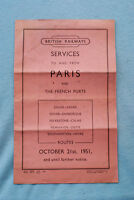 British Railways Services to and from Paris and French Ports - 10/21/51