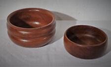mid century danish design vintage wooden bowl 60s  2 x Teak Holz Schüssel  60er