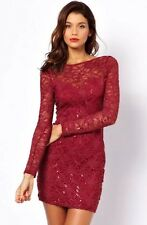 BNWT Gorgeous Lipsy Long Sleeve Red Lace Sequin Bodycon Size 12 Dress Party Club
