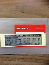 Genuine Honda Tyre Info Decal C50 C70 C90 1992 Monkey Bike Dax C50 Cub 50 Chaly