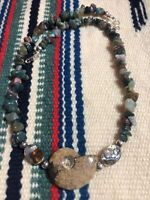 """#1007 Jasper 18"""" Necklace With Ammonite Shell Fossil Centerpiece 925 Silver Bead"""