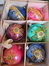 VINTAGE 6 MERCURY GLASS & TINSEL & GLITTER CHRISTMAS ORNAMENTS W. GERMANY