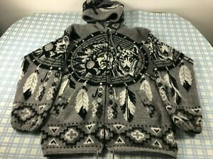 Tejidos Ruminahui Men Blue Wool Dreamcatcher Wolf Hooded Sweater Jacket M Medium