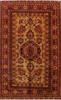 Geometric GOLD/RUST Super Kazak Hand-Knotted Area Rug Oriental Wool Carpet 7x11
