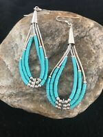 Liquid Silver Heishi Dangle Blue Turquoise Sterling Earrings 2""