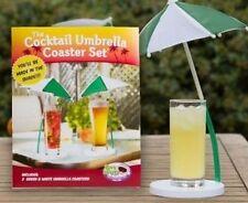 Fun 2 Piece Set Cocktail Umbrella Coaster Pool Party Novelty Beer Wine Cooler