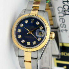 Rolex Lady Datejust Gold & Steel Blue Diamond Dial 69163 Oyster - WATCH CHEST