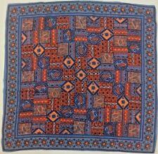 Vintage Scarf Blue Orange Paisley 70s Geometric floral