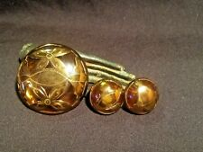 Artisan Crafted Demi Parure Brass Amber Floral Screw Earrings Brooch Unique Vtg