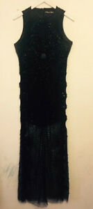 A Star is Born All Over Beaded Maxi Dress Black Sz- UK 8 RRP-£175.00
