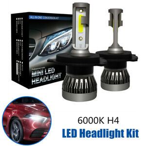 2PCS Car 6000K H4 9003 HB2 LED Xenon Headlight Kit 1200W 6000LM  Hi/Lo Beam Bulb