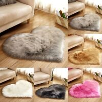 30*40cm Heart Shaped Shaggy Fluffy Rugs Anti-Skid Area Rug Carpet Bedroom Floor
