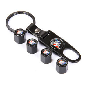 Universal Car Tire Valve Dust Stems Air Caps Cover Emblem Keychain For Buick