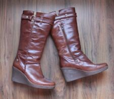 UGG Tan Leather Wedge Boots UK5