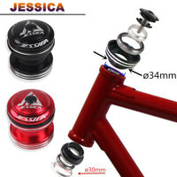 "34mm Aluminum MTB Road Bike External Headset 1-1/8"" Fork Steerer Parts Straight"
