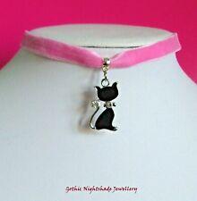 Black Cat Choker Necklace, Candy Pink Velvet Choker, Pastel Goth Choker,