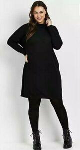 Evans High Neck Long Sleeve Dress Black Size UK 18