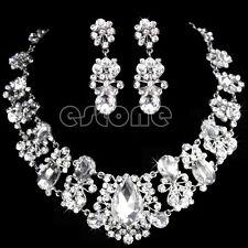 Wedding Bridal Rhinestone Necklace Pendant Earrings Set Silver Red Jewelry