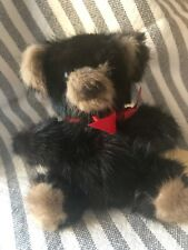 Mink Teddy Bear Black Red Bow