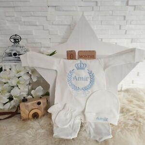 NEU! Baby Strampler mit Namen bestickt  Babyset Fotoshooting Blau Jungen 50 56