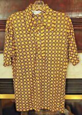 Vtg Burma Brown Yellow Diamond Geometric Print Mod Disco Shirt Prince Igor 70s