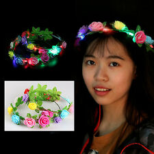 Wedding Party Crown Flower Headband LED Light Up Hair Wreath Hairband Garlands D