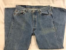"""Levis 501 34W x 29.5 USA Made StoneWash Straight Leg Button Fly 12"""" Rise Stained"""