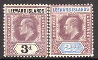 Leeward Islands 1902 purple/blue 2.5d purple/black 3d crown CA mint SG23/24