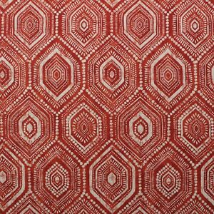 "BALLARD DESIGNS MARANELL RED TRIBAL RED GEOMETRIC LINEN FABRIC BY THE YARD 54""W"