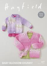 Sirdar 4677 Knitting Pattern Baby Girls Cardigans Hayfield Baby Blossom Chunky
