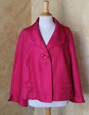 NWT Ellen Tracy Hot Pink Luxury Heavy-Weight Textured Swing Jacket Sz 16