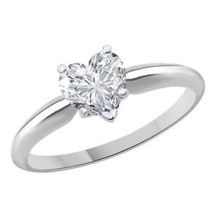 1.33 Ct Heart Shape Solitaire Engagement Wedding Promise Ring 18K White Gold