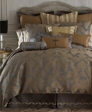 Waterford Linens Walton Reversible Damask 4-PC QUEEN Comforter Set Charcoal