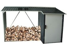 DuraMax WoodStore 8'W x 3'D Metal Shed Combo – Anthracite Gray Color (53651)