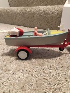 1960's Hard Plastic Toy Boat, Trailer, Motor Driver Structo